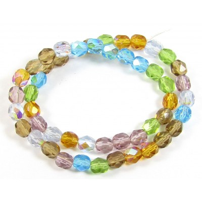 1 Strand Firepolish 6mm Faceted Sun and Sky Colour Mix Beads