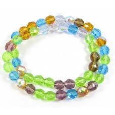 1 Strand Firepolish 8mm Faceted Sun and Sky Colour Mix Beads
