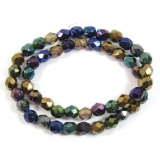 1 Strand Firepolish 6mm Faceted Precious Metals Colour Mix Beads