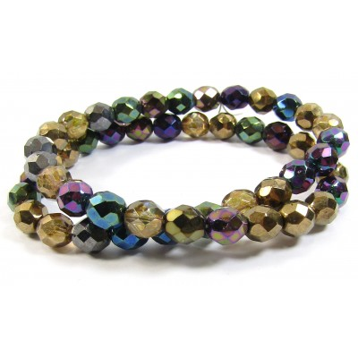 1 Strand Firepolish 8mm Faceted Precious Metals Colour Mix Beads