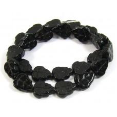 Strand Jet Black Leaf Czech Glass Beads