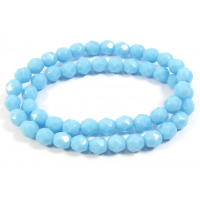 1 strand 6mm Czech Glass faceted round beads - Turquoise