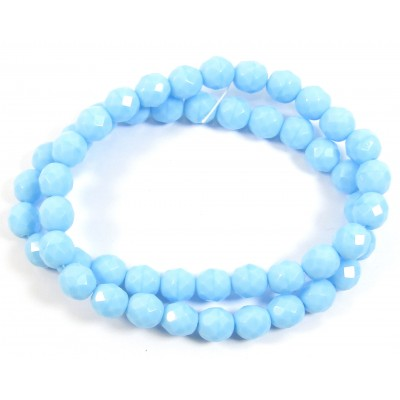1 strand 8mm Czech Glass faceted round beads - Turquoise