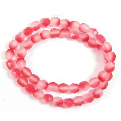 1 strand 6mm Czech Glass faceted round beads - Strawberry Summer