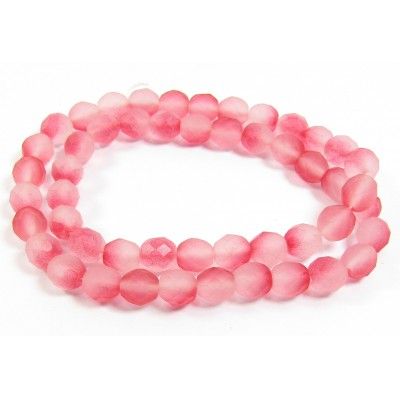 1 strand 8mm Czech Glass faceted round beads - Strawberry Summer