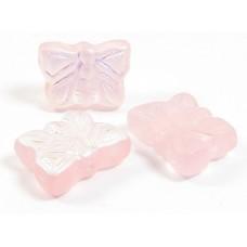 20 Czech Pressed Glass Butterfly Beads  – Matt Aurora Borealis Pink