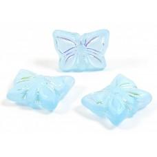 20 Czech Pressed Glass Butterfly Beads Matt AB Aquamarine