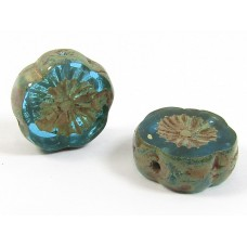 2 Czech Glass Hawaiian Flower Aqua Picasso Beads