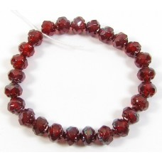 Strand Faceted Firepolish Glass Beads 6mm Siam Red
