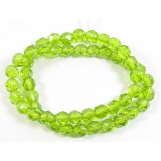 Strand Faceted Firepolish Glass Beads 6mm Peridot Green