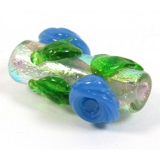 Dichroic 20mm Tube Bead Silver with Blue Flowers