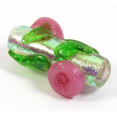 1 Dichroic Glass 20mm Tube Bead Silver with Pink Flowers