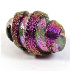 1 Pink Black Clear Twisty Dichroic 20mm Bead