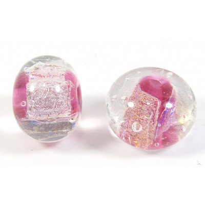 1 Multi-Colour Over Ruby Cased Dichroic 15mm Bead