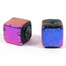1 Hot Pink Over Black 10mm Cube Bead