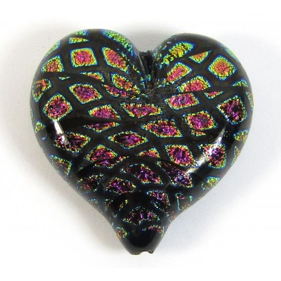 1 Rainbow Mosaic Dichroic Glass Heart Pendant