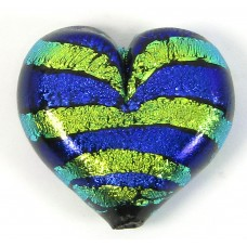 1 Purple Green Stripe Dichroic Glass Heart Pendant