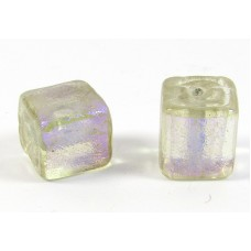 1 Purple over Clear Dichroic 10mm Cube Bead