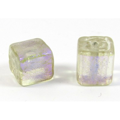 1 Purple over Clear Dichroic Glass 10mm Cube Bead