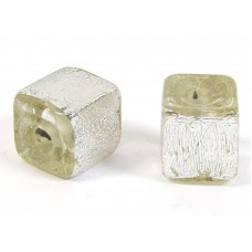 1 Silver Dichroic Glass over Clear 10mm Cube Bead