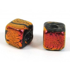 1 Rust Dichroic Glass on Black 7mm Cube Bead