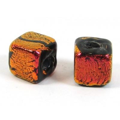 1 Rust Dichroic Glass on Black 7mm Cube Bead