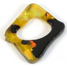 1 Small Dichroic Glass Square Donut Topaz