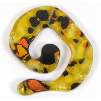 1 Dichroic Glass Spiral Donut Topaz