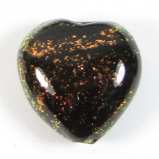 16mm Heart Dichroic Glass Burnt Orange Black