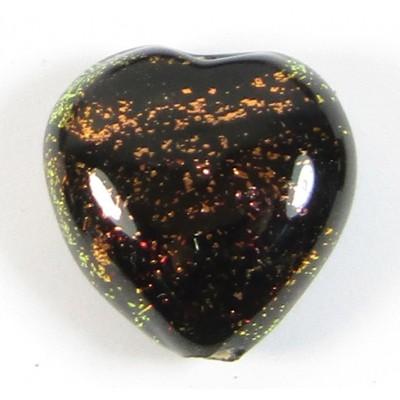 16mm Heart Dichroic Glass Burnt Orange Black