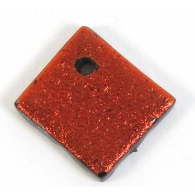 1 Rust Red Dichroic Glass Diamond Charm Pendant
