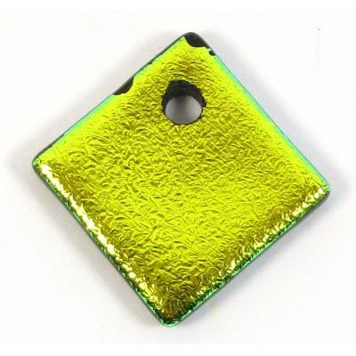 1 Green Glow Dichroic Glass Diamond Charm Pendant