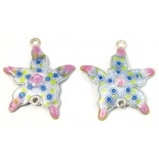 Pair Sterling Silver Enamelled Small Starfish Two Hole Charm Pendants