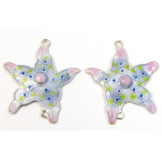 Pair Sterling Silver Enamelled Large Starfish Two Hole Charm Pendants