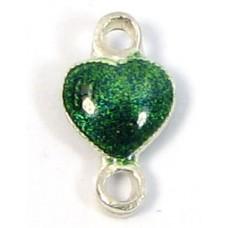 1 Sterling Silver Enamelled Emerald Green Heart Double Loop Link Charm