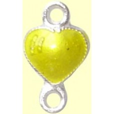 1 Sterling Silver Enamelled Yellow Heart Double Loop Link Charm