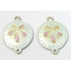 1 Pair Sterling Silver Enamelled Sand Dollars Two Hole Charms Pendants