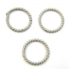 10 Oxidised Sterling Silver Twisted Soldered Closed 7mm Rings