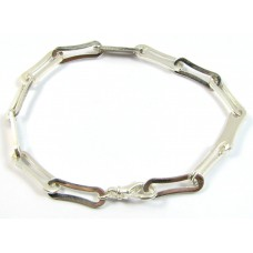 1 Sterling Silver Fancy Link Closed and Open Link Bracelet with Clasp