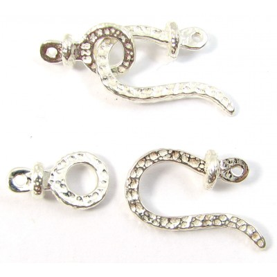 1 Sterling Silver Hammered Hook and Ring 2-Part Clasp