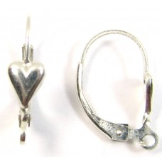 1 Pair Sterling Silver Heart Design Leverback Earring Fittings (Continental Fittings)