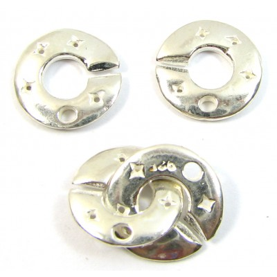 1 Sterling Silver 2 Part Planet and Stars Ring Clasp