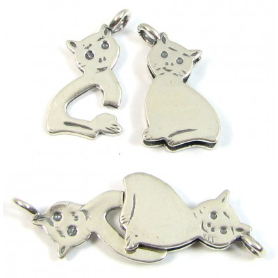 1 Sterling Silver 2-Part Cat Clasp