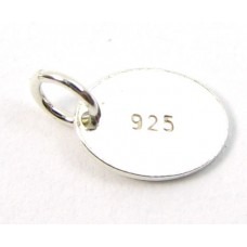 1 Sterling Silver Oval Tag Marked 925