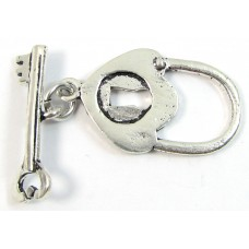 1 Sterling Silver Key and Lock Toggle Clasp