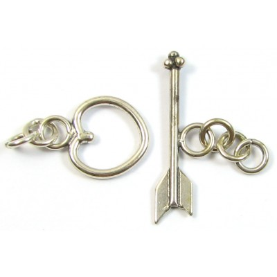 1 Sterling Silver Heart and Arrow Toggle Clasp Set