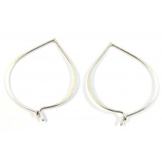 1 Pair  Sterling Silver Lotus Petal Creole Bali Hoop Earrings