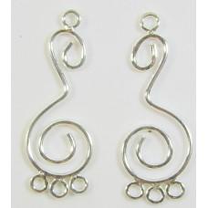 2  Sterling Silver Bali Chandelier 3 Ring Findings