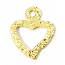 1 Gold Filled Textured Tiny Open Heart with Loop
