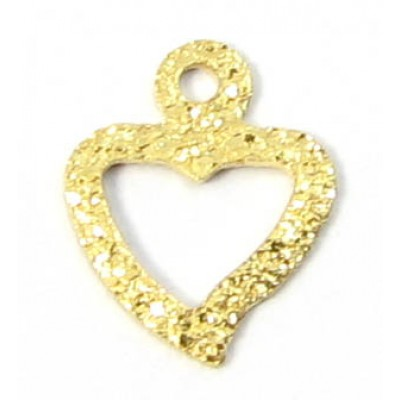 1 14k/20 Gold Filled Textured Tiny Open Heart with Loop